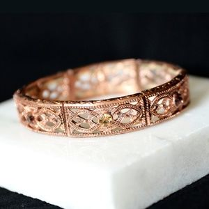 1928 Burnished Copper Tone Bracelet / Crystals